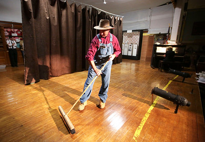 "Woodstock Chief of Police John Lieb plays a school janitor during the dress rehearsal for ""Elementary Follies"" at the McHenry County Historical Society on Wednesday, July 27, 2016 in Union, IL. The play is a fundraiser for the 1867 Pringle one room school to be held on August 12 & 14 in Union.  John Konstantaras photo for the Northwest Herald"