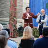 A scene during Midsummer Night's Dream in the outdoor courtyard of the Batavia Fine Arts Centre on July 22. Second from right is Lysander portrayed by Matthew Rosario.