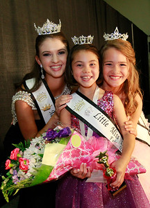 Candace H. Johnson Newly-crowned 2016 Lake County Fair Queens, Miss: Charlotte Roberts, 16, of Grayslake, Little Miss: Darby Leetch, 8, of Round Lake and Jr. Miss: Brighton Callaway, 11, of Lake Villa after the Lake County Fair Pageant during the Lake County Fair at the Lake County Fairgrounds in Grayslake.