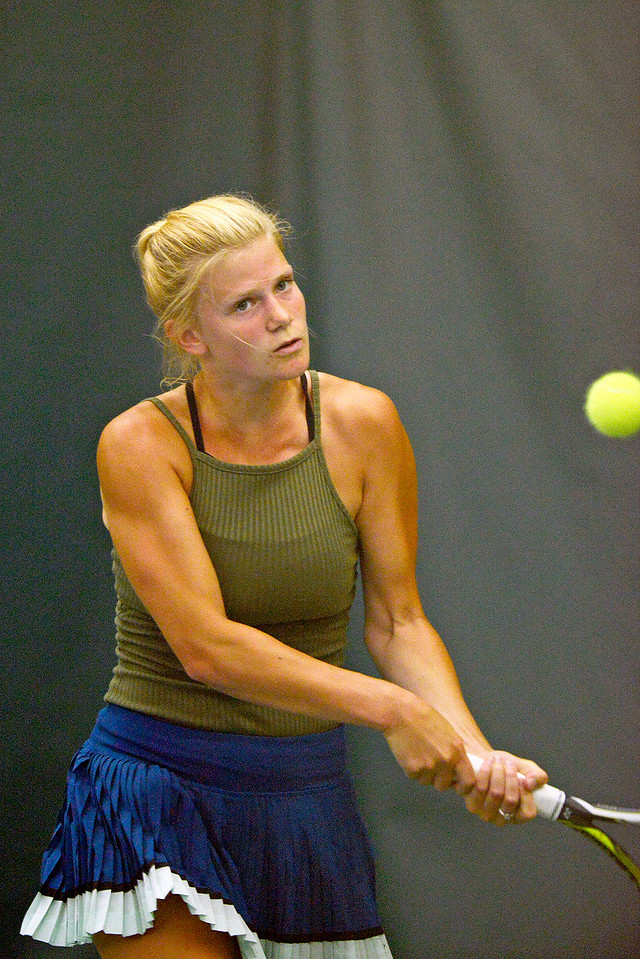Kayla Wolf - for Shaw Media Hannah Hougland competes in the women's open championship match Sunday, July 9, 2017 at the McHenry County Tennis Classic at The Racket Club in Algonquin. Hougland placed second in the women's open division.