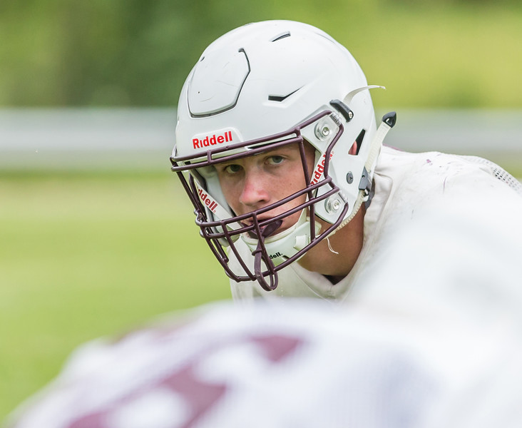 Ken Koontz - For Shaw Media Prairie Ridge senior linebacker Joe Perhats readies himself during a practice play Friday July 14, 2017 in Prairie Grove. The Wolves are defending Class 6A State Champions.