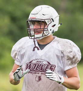 Ken Koontz - For Shaw Media Prairie Ridge senior linebacker Jacob Omnen during a practice scrimmage Friday July 14, 2017 in Prairie Grove. The Wolves are defending Class 6A State Champions.