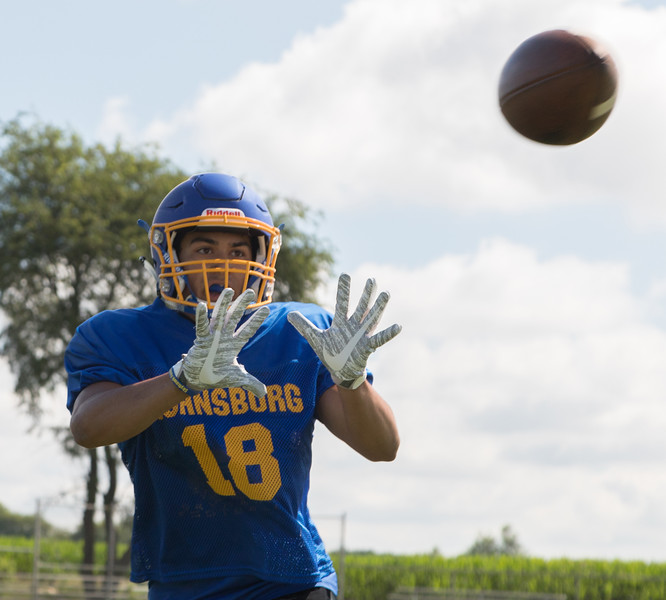Johnsburg High School senior receiver Nico LoDolce makes the catch field during a practice drill Monday, July 17, 2017 in Johnsburg.  KKoontz-For Shaw Media