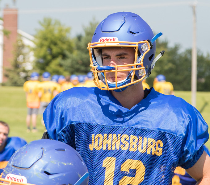 Johnsburg High School senior quarterback Adam Jayco during a practice drill Monday, July 17, 2017 in Johnsburg.  KKoontz-For Shaw Media