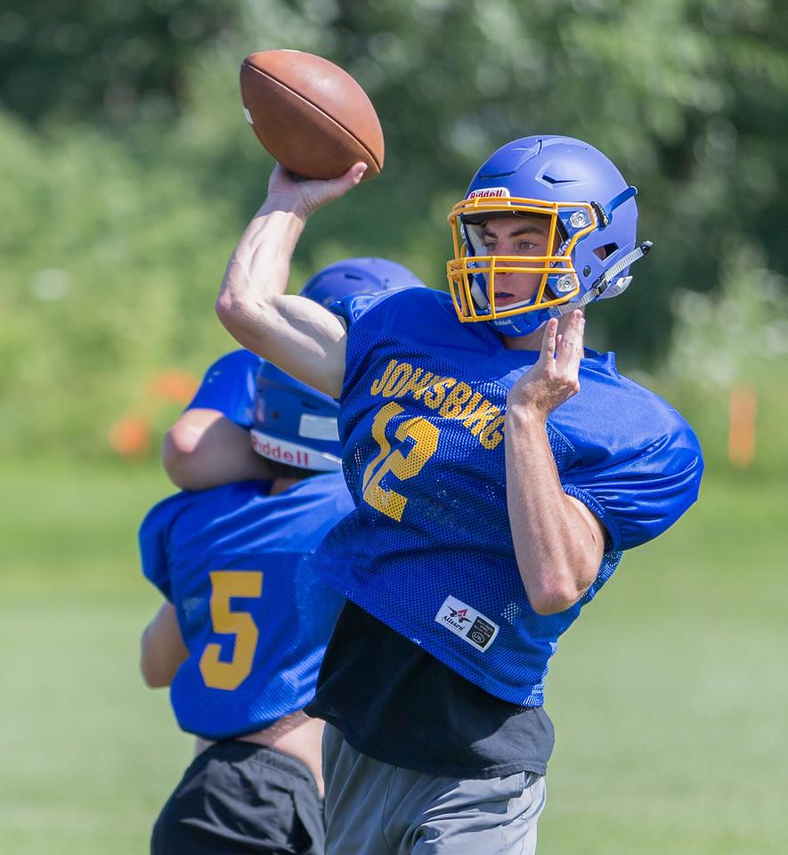 Johnsburg High School senior quarterback Adam Jayco drops back to throw during a practice drill Monday, July 17, 2017 in Johnsburg.  KKoontz-For Shaw Media