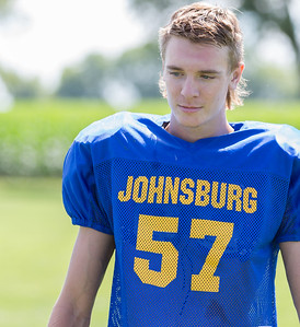 Johnsburg High School senior linebacker Joey Calhoun during a practice drill Monday, July 17, 2017 in Johnsburg.  KKoontz-For Shaw Media