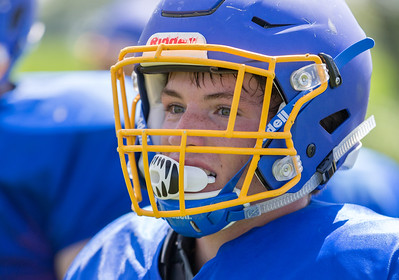 Johnsburg High School senior running back Jack Kegel looks in at the coach during a practice drill Monday, July 17, 2017 in Johnsburg.  KKoontz-For Shaw Media