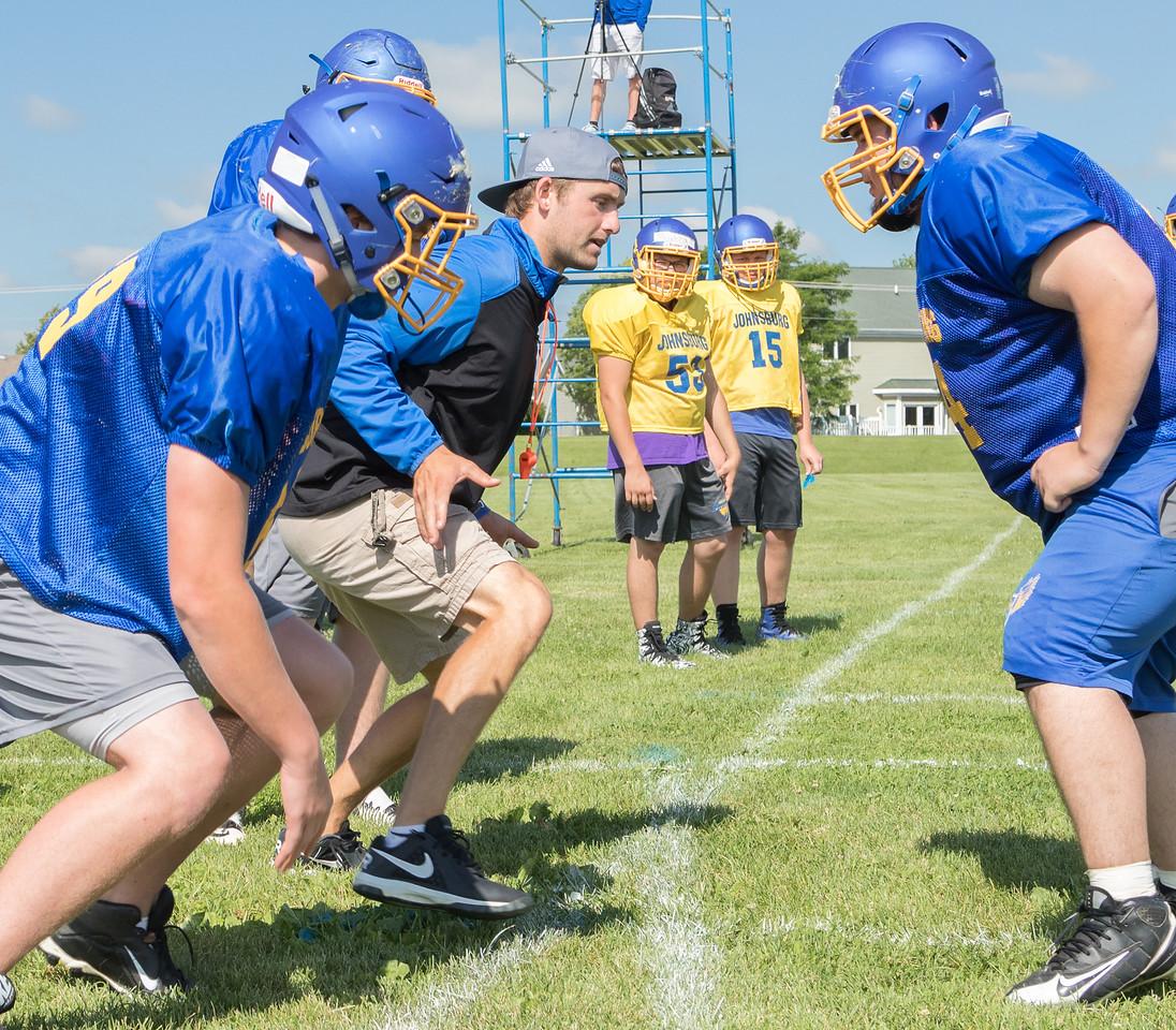 Johnsburg High school football head coach Dan DeBoeuf coaches a play Monday, July 17, 2017 in Johnsburg.  KKoontz-For Shaw Media