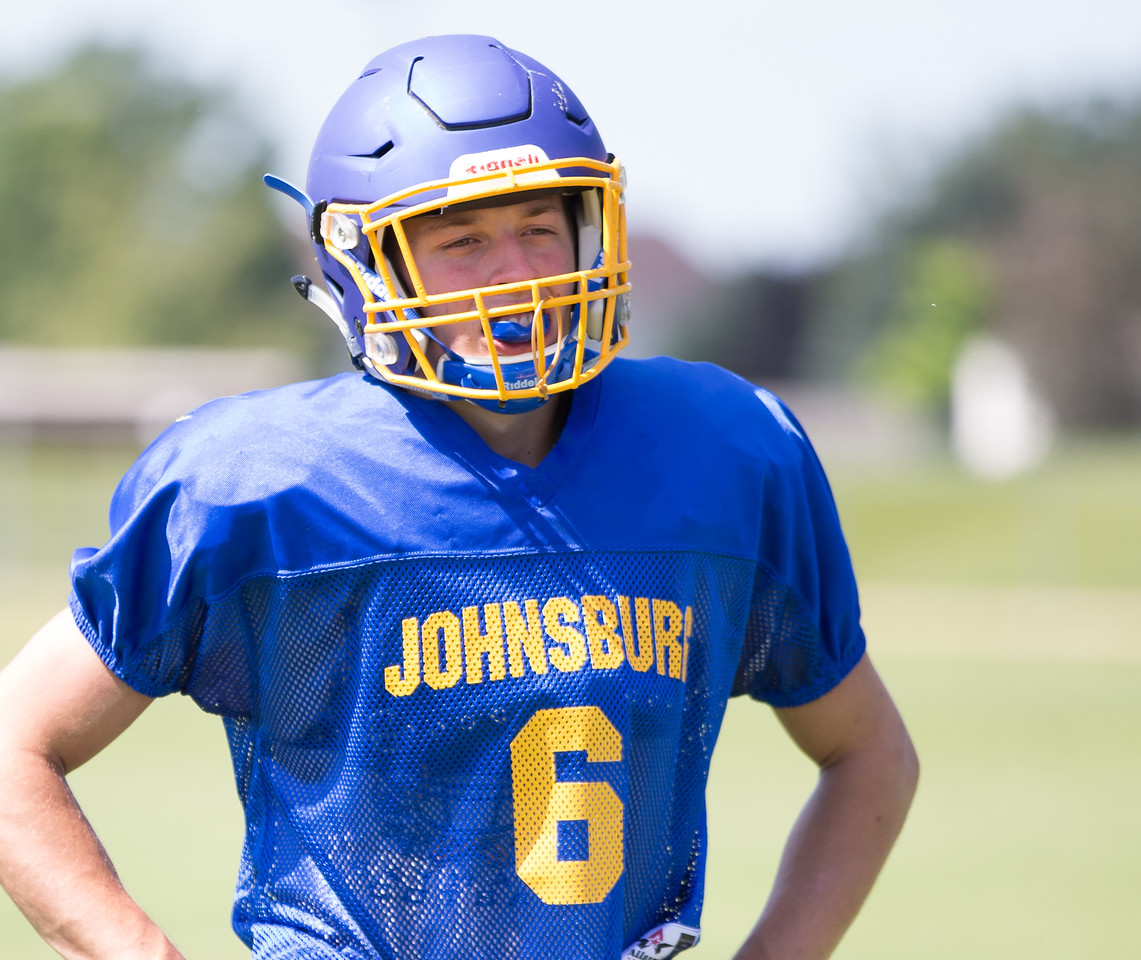 Johnsburg High School senior receiver Brody Frazier during a practice drill Monday, July 17, 2017 in Johnsburg.  KKoontz-For Shaw Media