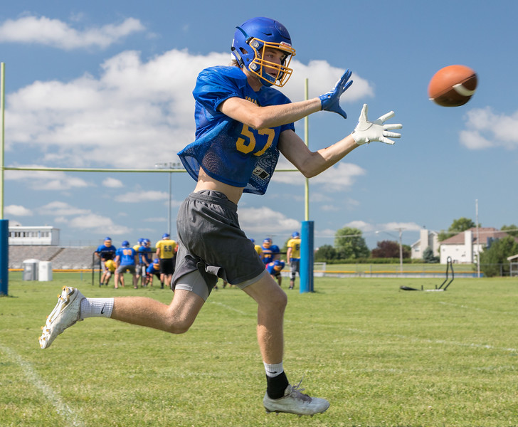 Johnsburg High School senior linebacker Joey Calhoun during a practice drill Monday, July 17, 2017 in Johnsburg.  KKoontz-For Shaw Media