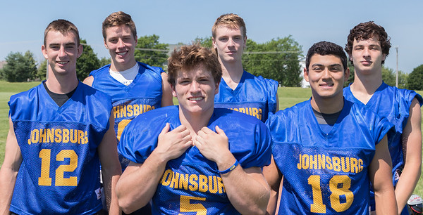 Johnsburg High School seniors (L-R) Adam Jayco, Brody Frazier, Jack Kegel, Joey Calhoun, Nico LoDolce, and Cameron Interrante during practice Monday, July 17, 2017 in Johnsburg.  KKoontz-For Shaw Media