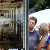 People look at unique photographs during the Geneva Art Fair along Third Street July 22.