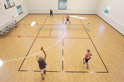 Candace H. Johnson-For Shaw Media A group plays pickleball at Lakefront Park in Fox Lake. Pickleball is offered Monday & Wednesday 1-4:30 pm and Thursday 6-7:30 pm at Lakefront Park.(7/2/18)