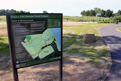 Candace H. Johnson-For Shaw Media A sign welcomes visitors at the main entrance of the Fort Sheridan Forest Preserve in Lake Forest.(7/9/18)