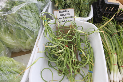 Candace H. Johnson-For Shaw Media Bunches of garlic scapes were for sale in the Six Generations Farmin' Local booth at the Fox Lake Farmers Market at the Community Garden Green on 17 E. School Court in Fox Lake. The farmers market runs on Tuesdays from 4-8 pm. (7/10/18)