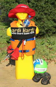 Candace H. Johnson-For Shaw Media Good luck charm Timmy the Lifeguard, from the Buffalo Grove Park District, was on display at the volleyball court during the Lifeguard Games at the Hunt Club Park Aquatic Center in Gurnee. Timmy is a rescue mannekin used for lifeguard practice.(7/11/18)