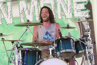 Candace H. Johnson-For Shaw Media Kory Sjoberg, of McHenry plays his drums with the 90's rock cover band, Moon Money, as they entertain the crowd during BeachFest at the Cultural & Civic Center in Round Lake Beach.(7/14/18)