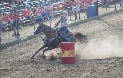 Candace H. Johnson-For Shaw Media Britney Butzer, of Orrville, Ohio competes in Barrel Racing during the 55th Annual Wauconda Rodeo at the Golden Oaks Equestrian Center in Wauconda.The event was sponsored by the Wauconda Chamber of Commerce. (7/15/18)
