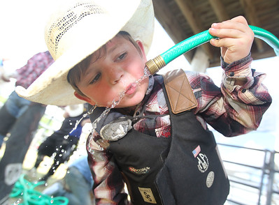Candace H. Johnson-For Shaw Media Wheaton West, 5, of Jasonville, Ind., gets a drink of water on a hot day during the 55th Annual Wauconda Rodeo at the Golden Oaks Equestrian Center in Wauconda.The event was sponsored by the Wauconda Chamber of Commerce. (7/15/18)
