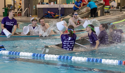 Team Studio 2015 (left) and Team Stryker battle it out in Canoe Battleship Thursday, July 26, 2018 at the Sage YMCA in Crystal Lake. The team were competing in the annual Corporate Challenge hosted by the YMCA. KKoontz – For Shaw Media