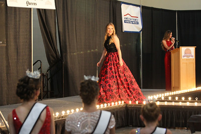 Candace H. Johnson-For Shaw Media Contestant Teaghan Callaway, 19, of Lake Villa walks on the Blue Ribbon Stage during the Miss Lake County Fair Queen Pageant at the Lake County Fair at the Lake County Fairgrounds in Grayslake. (7/25/18)