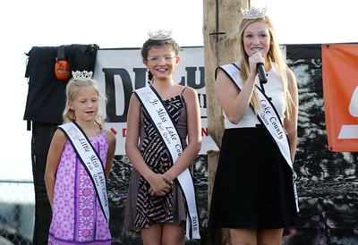 Candace H. Johnson-For Shaw Media Newly crowned Lake County Fair 2018 Queens: Little Miss Jenna Marasco, 8, Jr. Miss Lily Troyan, 13, and Miss Teaghan Callaway, 19, all of Lake Villa introduce themselves at the Timberwork's Lumberjack Show at the Lake County Fairgrounds in Grayslake. (7/28/18)