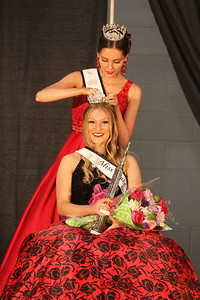 Candace H. Johnson-For Shaw Media Grace Keller, of Island Lake puts a crown on Teaghan Callaway, of Lake Villa, both 19, after she won the Miss Lake County Fair Queen Pageant at the Lake County Fair at the Lake County Fairgrounds in Grayslake. (7/25/18)