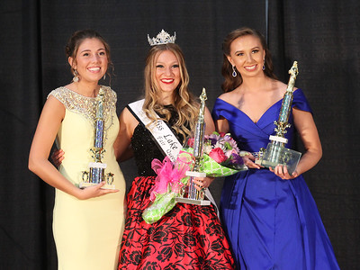 Candace H. Johnson-For Shaw Media Quinnlyn Meadowcroft (2nd Runner-Up), Teaghan Callaway and Brittany Gallarneau (1st Runner-Up), all 19, of Lake Villa pose for a picture with their trophies after Teaghan Callaway won the Miss Lake County Fair Queen Pageant at the Lake County Fair at the Lake County Fairgrounds in Grayslake. (7/25/18)