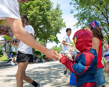 Dressed as Spiderman, William Berry (age 4), receives some candy during the Crystal Lake Independence Day parade Sunday, July 7, 2019 on Dole Avenue in Crystal Lake.  KKoontz - For Shaw Media