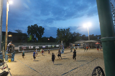 Candace H. Johnson-For Shaw Media A Sideouts Beach Volleyball League Recreational game was in action on Tuesday night in Island Lake. (7/9/19)
