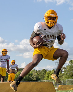 Carmel Catholic High School's Jermaine Moore runs a practice drill Monday, July 15, 2019 in Mundelein. KKoontz – For Shaw Media