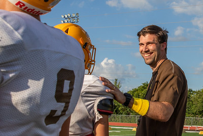 Carmel Catholic High School head football coach and former Chicago Bear Blake Annen runs practice drills Monday, July 15, 2019 Mundelein  KKoontz – For Shaw Media