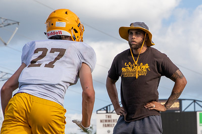 Carmel Catholic High School assistant football coach and former Chicago Bear Jonny Knox runs practice drills Monday, July 15, 2019 in Mundelein  KKoontz – For Shaw Media