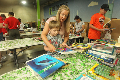 Candace H. Johnson-For Shaw Media Breanna Virginelli, of Kildeer works with her sons, Luciano, 7, and Carmine, 13, sorting books into different categories during the 10th Anniversary Celebration & Volunteer-A-Thon at Bernie's Book Bank in Lake Bluff. (7/13/19)