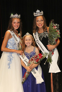 Candace H. Johnson-For Shaw Media Junior Miss Audrey Hetman, 13, Little Miss Ivy Lindstrom, 9, and Miss Lauren Allen, 19, newly crowned Gurnee 2019 queens come together during the 2019 Gurnee Community Pageant at Warren Township High School. (7/13/19)