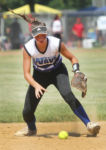 Candace H. Johnson-For Shaw Media Warren Wave 16U Silver's Taylor Jacobson fields a ground ball against the Lake in the Hills Hurricanes during the 15th Annual Warren Wave Wipeout Fastpitch Tournament at the Warren Township Center in Gurnee. The Warren Wave 16U Silver team won 3-0. (7/14/19)