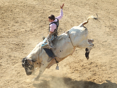 Candace H. Johnson-For Shaw Media Wyatt Bowling, of Wyoming, Mich., competes in the Bull Riding competition during the 56th Annual IPRA Championship Wauconda Rodeo at the Golden Oaks Equestrian Center in Wauconda. (7/14/19)
