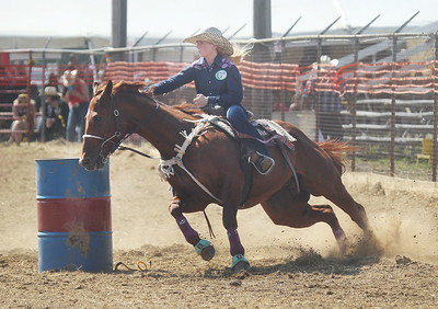 Candace H. Johnson-For Shaw Media BB Hastings, of Mattawan, Mich., competes in the Barrel Racing competition during the 56th Annual IPRA Championship Wauconda Rodeo at the Golden Oaks Equestrian Center in Wauconda. (7/14/19)
