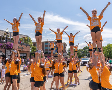 The McHenry High School cheerleaders perform on Green Street during the 2019 Fiesta Days Parade Sunday, July 21, 2019 in McHenry. KKoontz – For Shaw Media