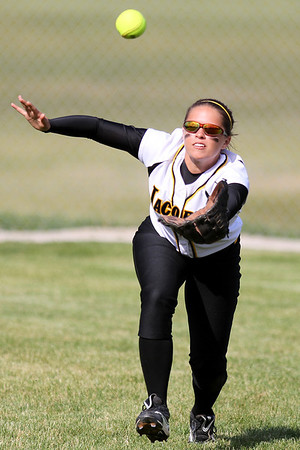 Mike Greene - mgreene@shawmedia.com Jacobs' Danielle O'Toole looks a fly ball into her glove during the Class 4A Cary-Grove Sectional semifinals against Hononegah Friday, June 1, 2012 in Cary. Jacobs won the game 3-0 to advance to the finals Saturday against Carmel.