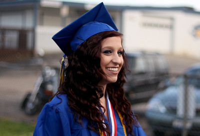 Sarah Nader - snader@shawmedia.com Salutatorian Chantelle Mrowka walks onto the football field  during the 2012 Johnsburg High School Commencement on Friday, June 1, 2012.