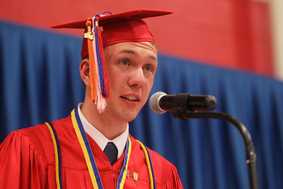 Mike Greene - mgreene@shawmedia.com Valedictorian Michael Fitzpatrick speaks during commencement ceremonies for Marian Central Catholic High School Friday, June 1, 2012 in Woodstock.