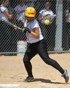 Mike Greene - mgreene@shawmedia.com Jacobs' Maggie Hansen is hit by a pitch during the Class 4A Cary-Grove Sectional finals against Carmel Saturday, June 2, 2012 in Cary. Jacobs won the game 7-0 to advance to the Judson University Supersectional against Elk Grove Monday.