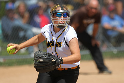 Mike Greene - mgreene@shawmedia.com Jacobs' Alyssa Lach fields a bunted ball during the Class 4A Cary-Grove Sectional finals against Carmel Saturday, June 2, 2012 in Cary. Jacobs won the game 7-0 to advance to the Judson University Supersectional against Elk Grove Monday.