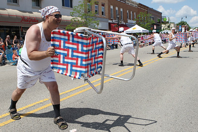 Mike Greene - mgreene@shawmedia.com Members of the Lawn Chair Dads perform during the 71st Annual Milk Days Parade Saturday, June 2, 2012 in Harvard.