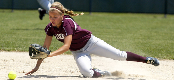 H. Rick Bamman - hbamman@shawmedia.com Marengo's Shae Karsten stumbles while trying to field a grounder near second base in the sixth inning Saturday against Burlington Central in the Belvidere 3A Softball sectional Marengo won 3-0 and faces Sterling Monday.