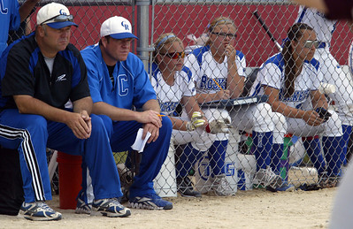 H. Rick Bamman - hbamman@shawmedia.com Burlington Central's bench watches the action late in the game in the Belvidere 3A Softball sectional.