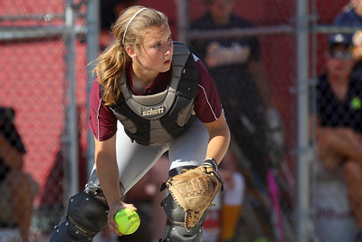 Mike Greene - mgreene@shawmedia.com Marengo's Taylor Carlson grabs a bunt in foul territory during the Class 3A Belvidere North Sectional Final against Sterling Monday, June 4, 2012 in Belvidere. Marengo won the game 2-1 to take home the sectional title.