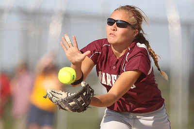 Mike Greene - mgreene@shawmedia.com Marengo's Shae Karsten catches a ball on the infield during the Class 3A Belvidere North Sectional Final against Sterling Monday, June 4, 2012 in Belvidere. Marengo won the game 2-1 to take home the sectional title.