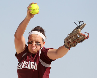 Mike Greene - mgreene@shawmedia.com Marengo's Lindsay Melson pitches during the first inning of the Class 3A Belvidere North Sectional Final against Sterling Monday, June 4, 2012 in Belvidere. Marengo won the game 2-1 behind Melson's complete game.